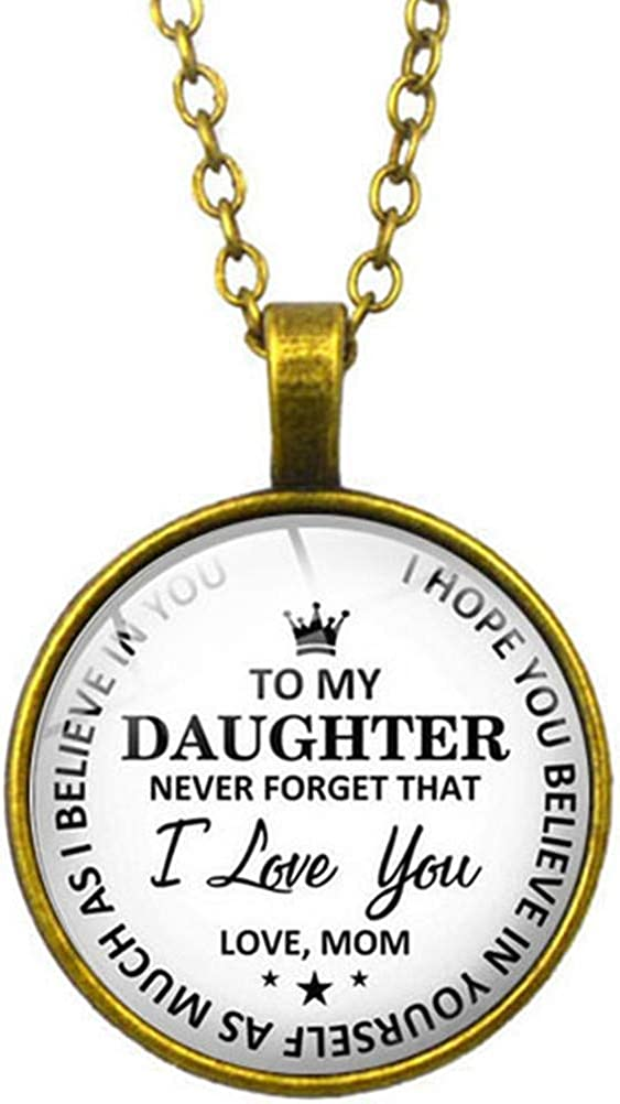 FLDC Inspirational Gifts to My Daughter Necklace from Love Mom Round Charm Pendant Jewelry for Birthday Graduation Christmas