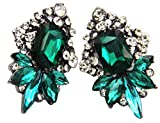 Art Deco Antique Vintage Style Emerald Green Rhinestone Wedding Bridal Prom Earrings