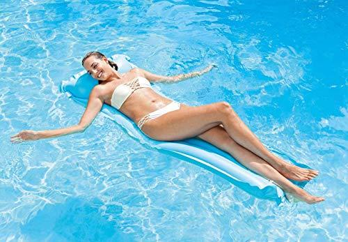 kunst für alle Wasser Hängematte-Aufblasbar Schwimmring Schwimmende Reihe Pool Lounge Stuhl Luftmatratze Pool-Float-Wassersofa Pool Floß Erwachsenes Kind Wasser Spaß… (Blue)