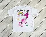 Kinder T-Shirt'Ich bin jetzt 4' Einhörner 4.Geburtstag Größe 118/128 Kind Einhorn Einhörner Regenbogen Sterne Eins