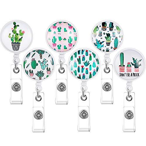 6 Pieces Cactus Retractable Badge Reel Cactus Retractable Badge Holder Cute Name ID Card Badge Reel with Clip for Nurse Teacher Student