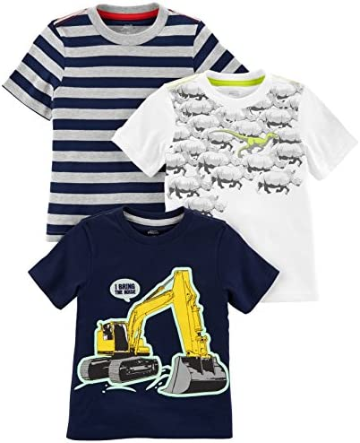 Simple Joys by Carter s Baby Boys Toddler 3 Pack Graphic Tees Digger Stripe Dino 4T product image