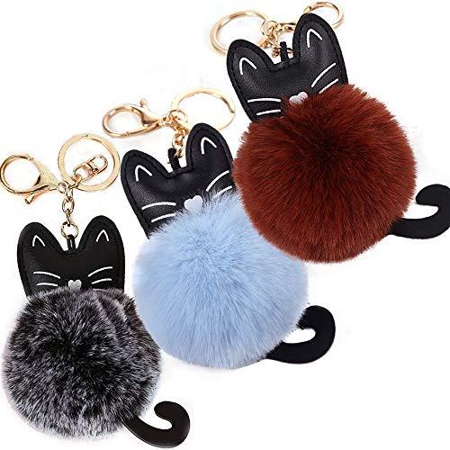 3 llaveros de piel sintética con forma de bola de gato, esponjosos, con pompón de gato, colgante para bolso de mano y mochila para colgar