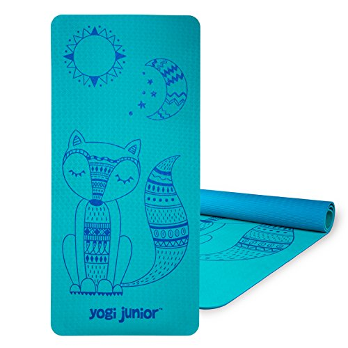 Yogi Junior Kids Yoga Mat - PVC Free - Double Layered TPE Foam (Glacier Boho Fox)