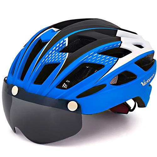 VICTGAOL Casco Bicicleta Helmet Bici Ciclismo para Adulto con Luz Trasera LED Visera Extraíble Hombres Mujeres Adultos de Bicicleta para Montar (Azul)
