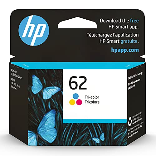 Original HP 62 Tri-color Ink Cartridge | Works with HP ENVY 5540, 5640, 5660, 7640 Series, HP OfficeJet 5740, 8040 Series, HP OfficeJet Mobile 200, 250 Series | Eligible for Instant Ink | C2P06AN