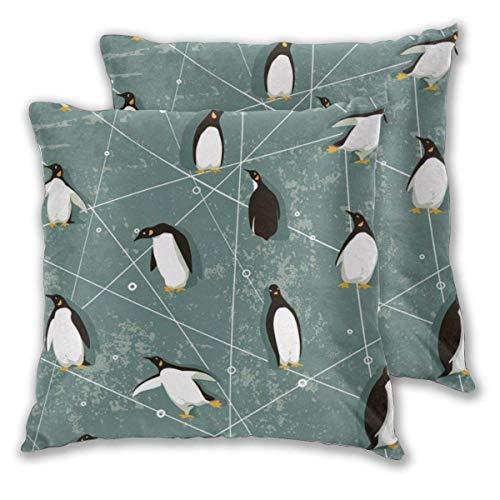 AEMAPE Fundas de Almohada cuadradas Suaves, Art Penguin, Paquete de 2 Fundas de cojín Decorativas, Fundas de Almohada para sofá, Dormitorio, Coche, 40 x 40 cm