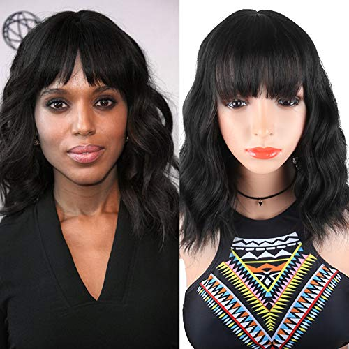 DEYNGS Fashion Short Wavy Wigs With Flat Bangs Natural Black Synthetic Full Wigs For Women None Lace Wigs That Look Real Heat Resistant +Free Wig Cap