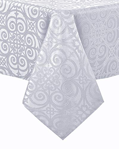 Newbridge Ironworks Scroll Damask Fine Dining, Party and Banquet Fabric Tablecloth, Contemporary Damask Soil Resistant, No Iron Tablecloth , 52 Inch x 70 Inch Oblong/Rectangle, White