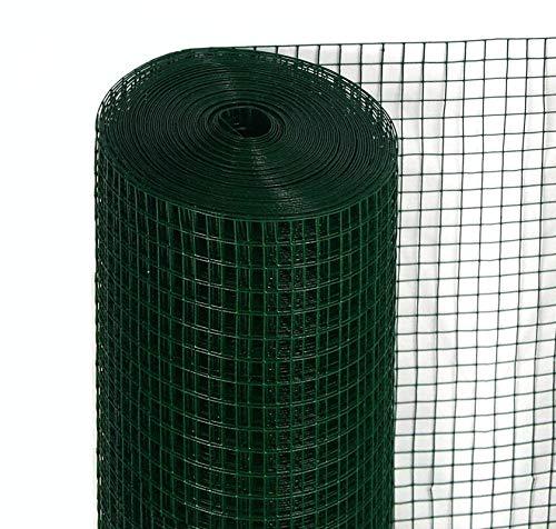 Rete per recinzione PLASTIFICATA | Altezza H 80 cm | Elettrosaldata 12x12 mm | Filo Ø 1,2 mm | Lughezza Rotolo da 25 mt | Per piccoli animali | per recinzione Verde CARTOMATICA Confezione da 1PZ