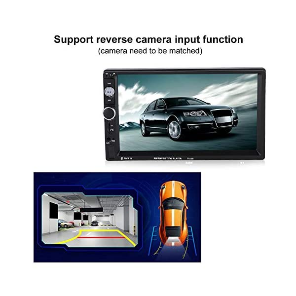 Terisass Car Player 7032B 7 Inch Double Din Touch Screen Car BT MP5 Player Stereo Radio Bluetooth Sound Modified Car Music Video Receiver USB AUX Remote Control Support Reverse Image 4