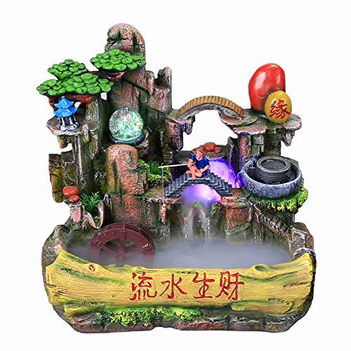 YHDP - Fuente de mesa para oficina, para dinero, dinero, decoración para interiores, tiempo libre, rockery, con luz LED, decoración eléctrica, color verde