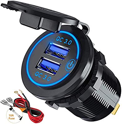 Quick Charge 3.0 USB Car Charger Socket 12V/24V 36W Dual QC3.0 USB Fast Charger Socket Power Outlet with Touch Switch for Marine, Boat, Motorcycle, Truck, Golf Cart (Blue)