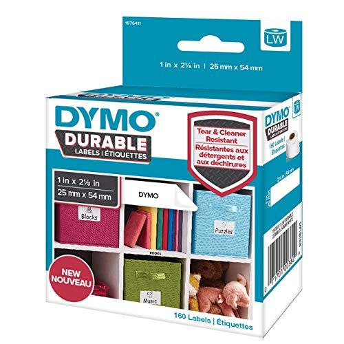 DYMO LW Hochleistungs Etiketten | 25 mm x 54 mm | weißes Polyester | Rolle mit 160 Etikettenband | für LabelWriter-Beschriftungsgerät | authentisches Produkt