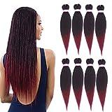 8 pièces pré-étiré tressage cheveux Perm 26 pouces fibre synthétique tresse cheveux sans eau chaude réglage Crochet tressage Extension de cheveux (1B/TBUG)