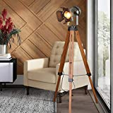 Industrial Floor Lamps for Living Room, Farmhouse Tripod Lamp for Bedrooms Vintage Steampunk Adjustable 55' Black Metal Camera Wooden Tall Standing Lights for Study Corner, Office (No E26 Bulb)