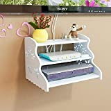HAI+ Three-Layer White Under Floating TV Shelf, Wall Mount WiFi Router Stand, Set-top Box Streaming Media Equipment Case