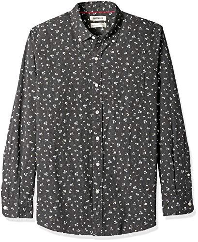 Amazon Brand - Goodthreads Men's Standard-Fit Long-Sleeve Poplin Shirt, black heather small floral print, Medium
