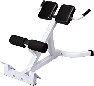 Luluman Home Roman Chair N-027 Back Hyperextension Bench Roman Chair Adjustable 45 Degree AB Back Abdominal Exercise Machine,White & Black