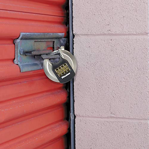 MASTER LOCK Heavy Duty Disc Padlock [Combination] [Stainless Steel] [Outdoor] M40EURDNUM - Best Used for Storage Units, Sheds, Garages, Trailers and More