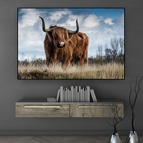 Highland Cattle Animal Scandinavian Nordic Painting Wall Art Poster e incisioni su Tela Immagine Soggiorno Decorazione 50x75cm