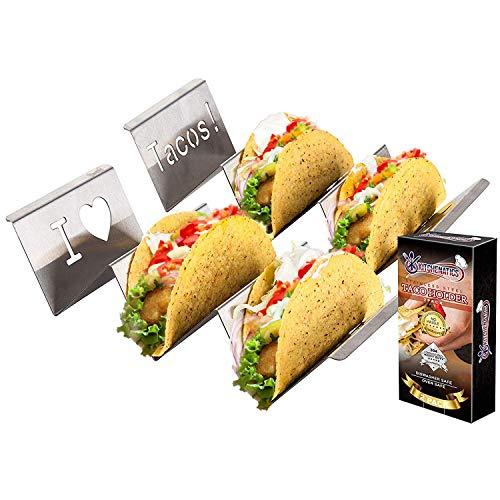 KITCHENATICS Soporte Tacos Mexicanos: 2 bandejas Rejilla