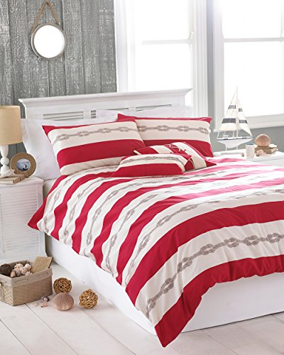 Riva Paoletti Reef King Size Bed Duvet Cover Set - Red Nautical Stripe Design - 2 x Housewife Pillowcase Included - PolyCotton - Machine Washable - 230 x 220cm (91' x 87' inches)