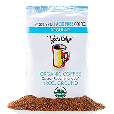 Tyler's No Acid Organic Ground Coffee - 100% Arabica Full Flavor - Neutral pH - No Bitter Aftertaste - Gentle on Digestion, Reduce Acid Reflux - Protect Teeth Enamel - For No Acid Diets - 12 oz