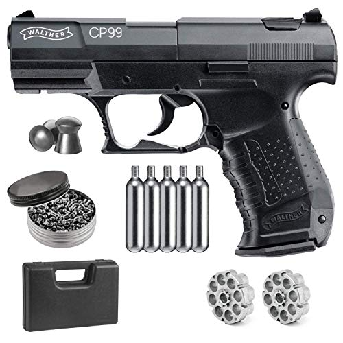 Wearable4U Umarex Walther CP99 .177 Caliber Pellet Gun Air Pistol 5X 12gr CO2 Tanks and .177 500ct Pellets Bundle