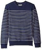 Marca Amazon – Goodthreads – Jersey de algodón suave a rayas con cuello redondo para hombre, Azul (navy/white stripe Nav), US M (EU M)