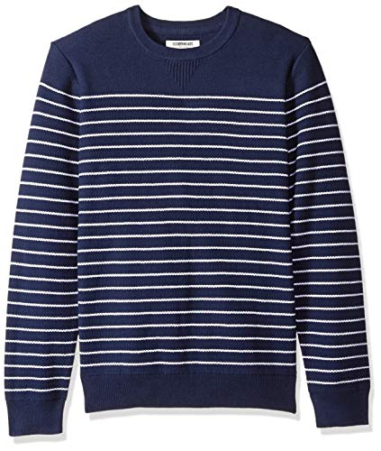Goodthreads Men's Soft Cotton Multi-Color Striped Crewneck Sweater, Navy/White, Large