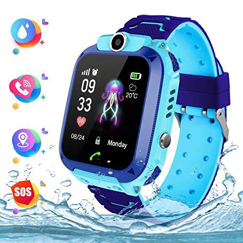 Wasserdichte Student Kinder Smartwatch Telefon - Touchscreen Kinder Smartwatch, Anruf Voice Chat LBS SOS Taschenlampe Digitalkamera Wecker, Geschenk für Kinder Junge Mädchen Student, S12 Blau