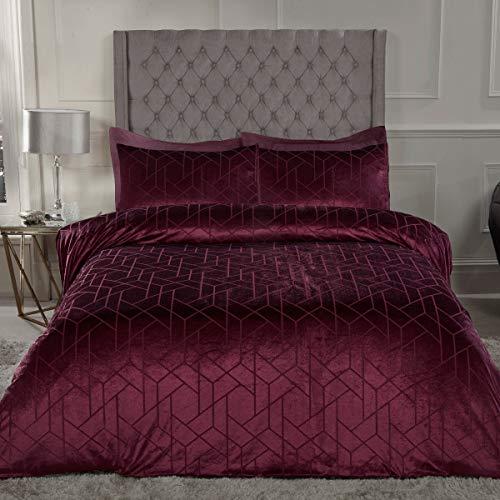 Sleepdown Geometric Crushed Velvet Abstract Wine Luxury Soft Cosy Duvet Cover Quilt Bedding Set with Pillowcases - King (220cm x 230cm)