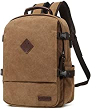LACATTURA Vintage Laptop Backpack for Men Women, Stylish Denim Rucksack Casual Bookbag School bag for Boys&Girls - Brown