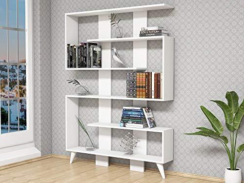 Homemania Libreria Jane Scaffale, Mobile - con Ripiani - da Salotto, Ufficio - Bianco in Legno, 120 x 22 x 164 cm