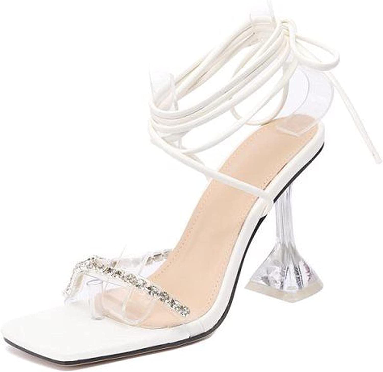 Rhinestone Sandals for Women Cross String Strappy High Heel Sandals Clear Heeled Sandals