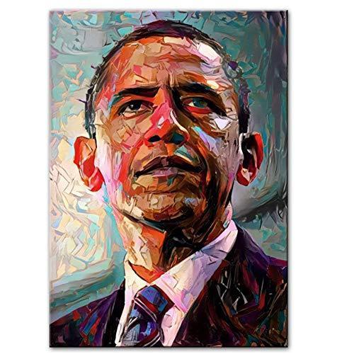 NRRTBWDHL Amerika Präsident von Obama Porträt Leinwand Kunst Gemälde Moderne Pop Wand Poster und Drucke Bilder für Wohnzimmer-50x75cm ohne Rahmen