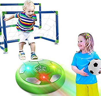 HOMOFY Hover Soccer Ball Set Kids Game Toys  Ball Toy with LED Light Air Soccer with 2 Goals Fun Indoor Football Gifts for 3 4 5 6 7-12 Years Old Boys Girls,Toddlers Toys