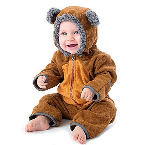 MRULIC Baby Overall Mit Kapuze Footies Winter Strampler Schneeanzüge Karikatur Jumpsuit Mädchen Jungen Kleidungsset Fleece Footed Spielanzug(C-Braun,Höhe:75-80cm)