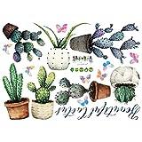 VOSAREA Pegatinas de Pared Planta Maceta Cactus Art Mural DIY calcomanías extraíbles para la Sala de Estar Dormitorio decoración de la Ventana de Cristal 50x70 cm