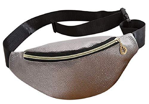 Riñonera Mujer - Elegante - Deportiva - práctica - Moda - niña - Ajustable - Impermeable - Idea de Regalo Original - Color Gris Metalizado