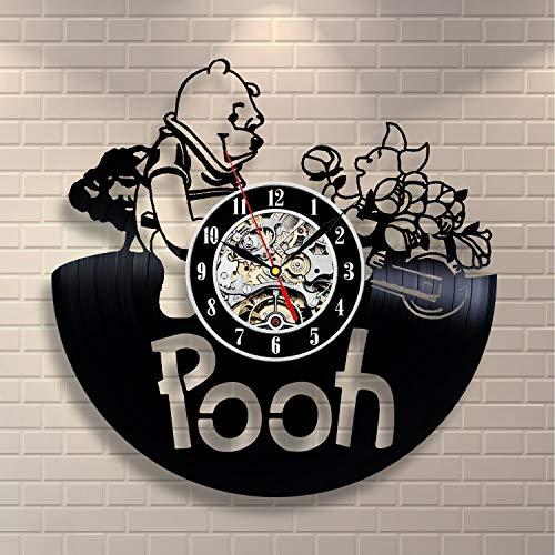HOME ART DECOR Winnie The Pooh Teddy Bear Design Vinyl Clock Great Birthday Gift Baby Shower Present Housewarming Gift for Adults Youth Children