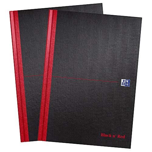 Oxford Black n' Red, Cuaderno A4, tapa dura, con tapa, forrado, 2 unidades