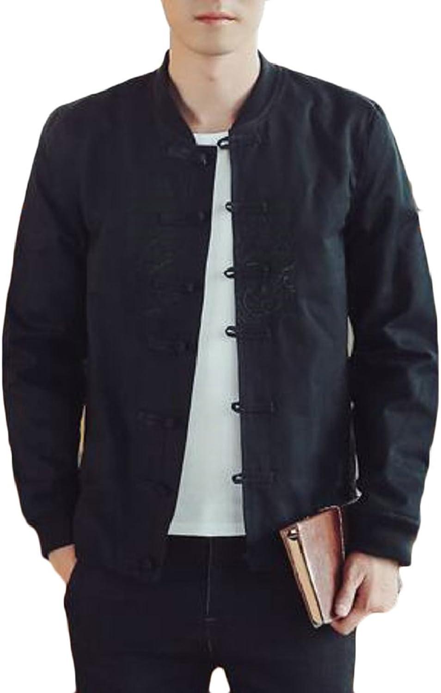 Yayu Men's Vintage Long Sleeve Slim Fit Cotton Print Kung Fu Coat Jacket