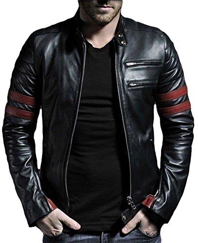 Trendtales Chaqueta de cuero para hombre, piel de cordero, Negro TTKL767 XXL