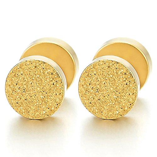 6MM Color Oro Satinado Círculo Enchufe Falso Fake Plug, Pendientes de Hombre Mujer, Aretes, Acero Inoxidable, 2 Piezas