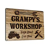 Grampy's Workshop Toys Fixed for Free, 9x12 Inch Metal Sign, Vintage Workshop and Garage Signs Wall Decor, Gifts for Papa, Dad, Pop, Woodworking, Woodturning, Cabinet Maker, Mechanic , RK3195 9x12