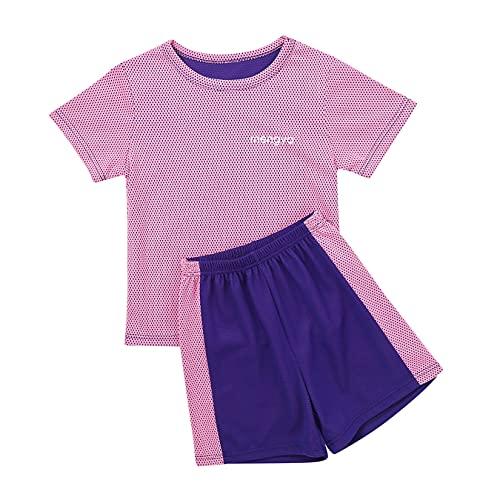Jowowha Kinder Sport Kleidung Set Jungen Mädchen Sports Trikots Kurzarm T-Shirt und Shorts Sport Trainingsanzug Fussball Basketball Kleidung Cx Lila C 128-140