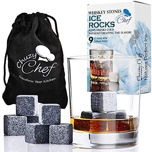 Chuzy Chef Whiskey Stones Reusable Ice Cubes - Set of 9 Reusable Whiskey Wine & Beverage Chilling Rocks with Velvet Gift Pouch for Indoor & Outdoor Bar & Party Accessories