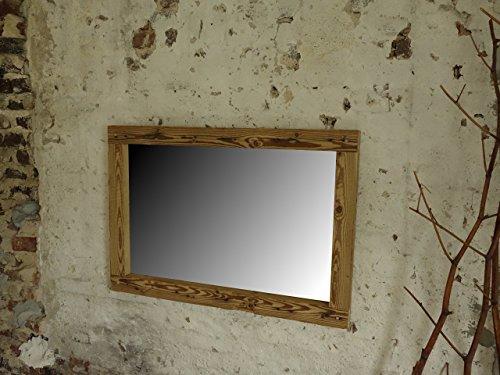 Spiegel aus Altholzbalken handbehauen rustikaler Holzbalkenspiegel Shabby 70 x 100 x 5,5